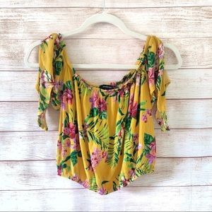 AMBIANCE Yellow Tropical Print Floral Crop Top S